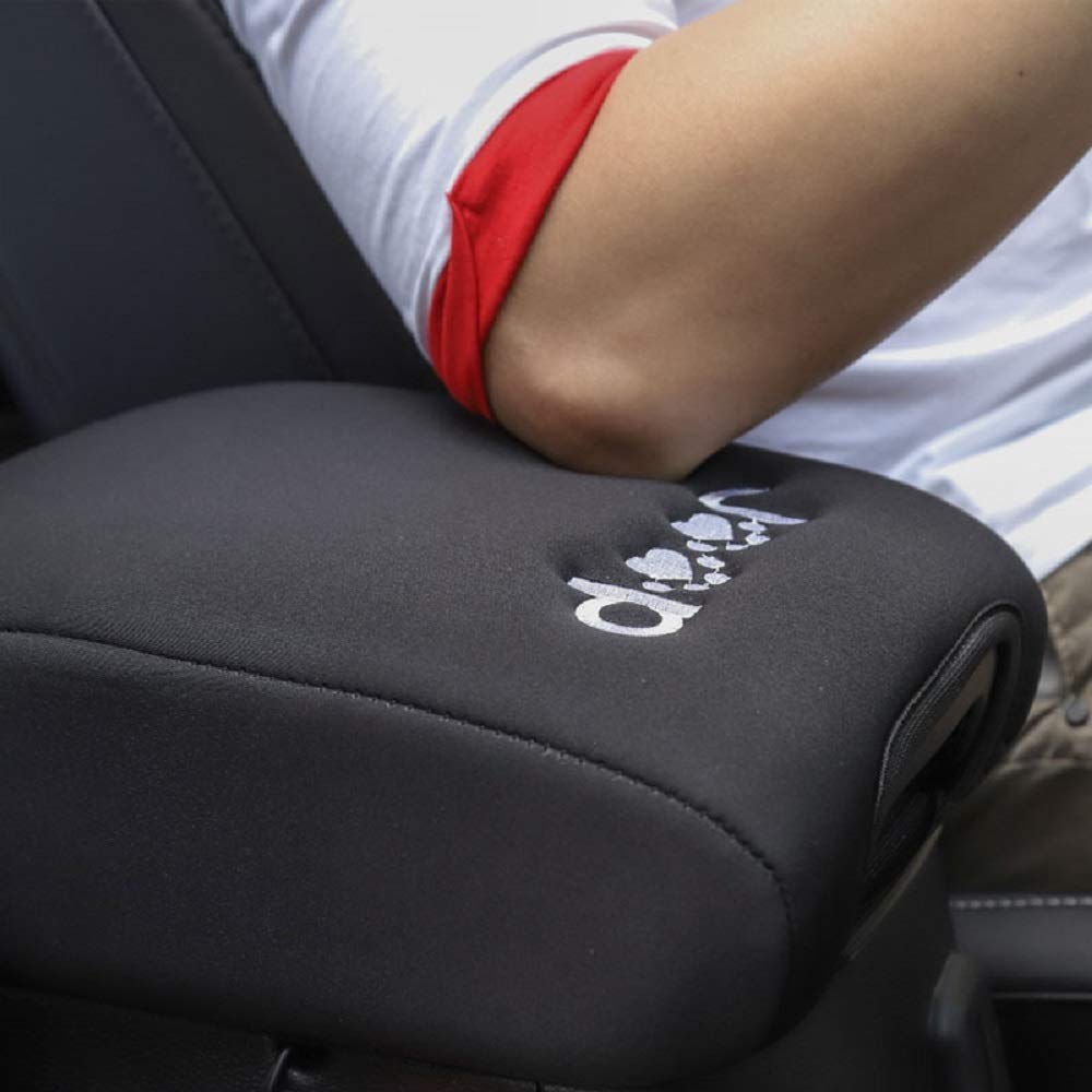 SOYAVISION Black Center Console Armrest Pad Cover with Dog Paw Paws Print Logo for Jeep Wrangler JL 2018