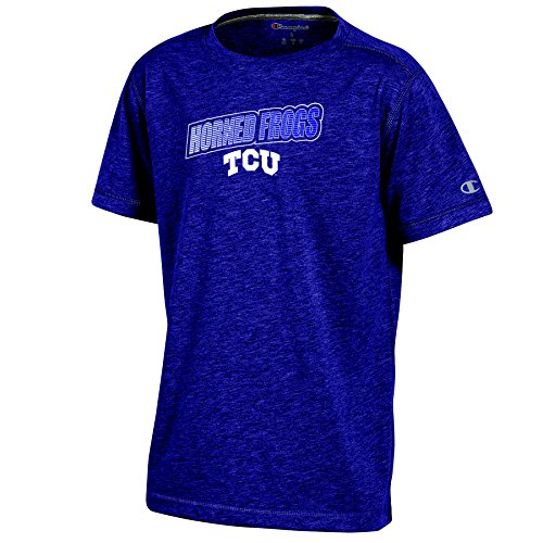 Champion (CHAFK) NCAA TCU Horned Frogs Youth Boys Short Sleeve Crew Neck Tee, Medium, Purple Heather