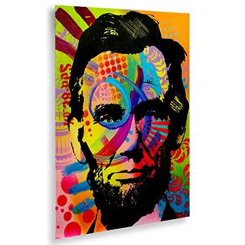 Trademark Fine Art  Abraham Lincoln II by Dean Russo, Floating Brushed Aluminum