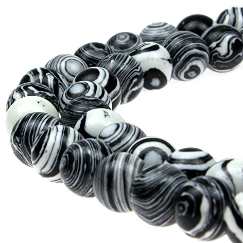 JARTC Synthesis Colour Malachite Beads Beautiful Fashion Round Stone Beads for DIY Jewelry Making 15 (10mm, Black - White)
