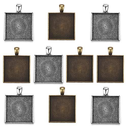 10Pcs Pendant Trays Square Bezel for Jewelry Making Jewelry Pendant Trays Jewelry Findings Cabochon Frame Setting Tray Pendant 2 Colors 25mm ()