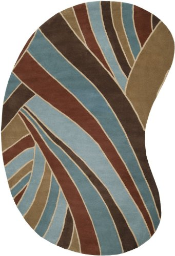 Surya Contemporary Kidney Area Rug 8'x10' Sky-Red Brown Forum Collection - 10' Kidney Area Rug