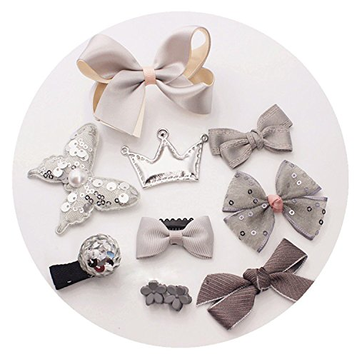 10pcs Hair Clips for Baby Girls Kids Toddler Cute Bowknot Crown Hair Barrette Hairpin Headdress Bows Accessories for Photography Pops Costume Party Birthday Gift (grey) (Feather Starfish For Sale)