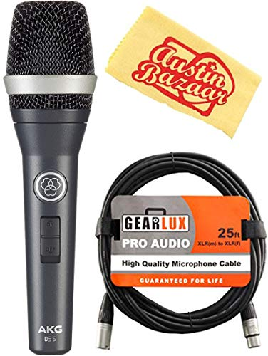 AKG D5S Professional Dynamic Vocal Microphone Bundle with XLR Cable and Austin Bazaar Polishing ()
