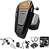 AUTOLOVER Motorbike Bluetooth Headset, BT-S2 1000M Motorcycle Helmet Intercom Interphone and Audio for MP3 Player/GPS/Walkie-Talkie, Hands Free & FM Radio (Single)