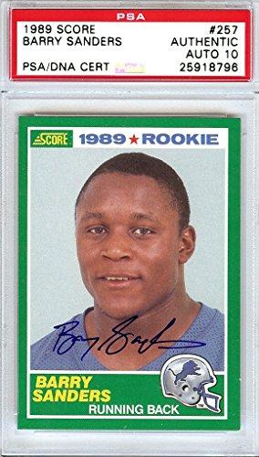 Barry Sanders Autographed 1989 Score Rookie Card #257 Detroit Lions Gem Mint 10 PSA/DNA Stock #107270