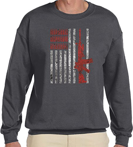 Amdesco Men's American Flag with AR15 AR-15 and Bullets Crewneck Sweatshirt, Charcoal Grey (Ar Red Charcoal)