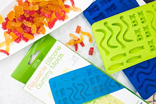 Gummy Bear Mold, Swedish Fish and Gummy Worms all in one. Unique Childrens Item for Healthy Home Made Gelatin Gummies, Fruit Snacks, Ice Cubes and Chocolates. 2-Pack Silicone Molds for 52 Large Gumm