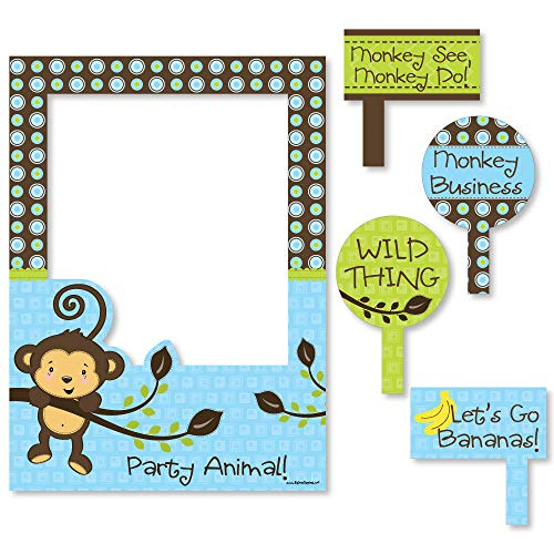 - Big Dot of Happiness Blue Monkey Boy - Birthday Party or Baby Shower Selfie Photo Booth Picture Frame & Props - Printed on Sturdy Material