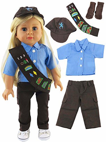 Brownie Scout Costume Girl - Girl Scouts Brownie Pant Outfit Costume Set for Dolls. - Fits 18