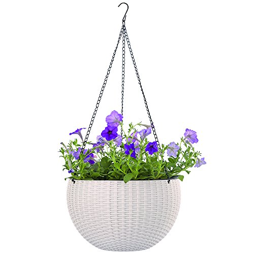 Growers Hanging Basket, Indoor Outdoor Hanging Planter Basket, 10.4 in.Round Resin Garden Plant Hanging Planters Decor Pot (White)