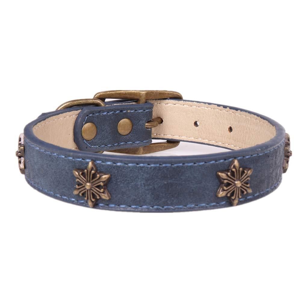 Axgo Leather Soft Dog Collar Bronze Star Decoration Adjustable Puppy Lead Collar for Medium Large Dog, Blue