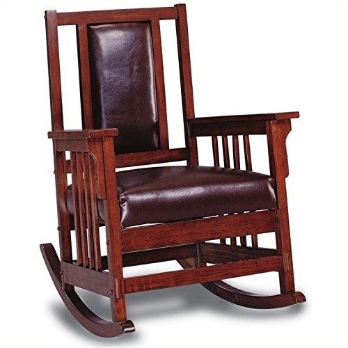 Glider Mission Rocker - BOWERY HILL Mission Style Wood Rocker with Leather Match Seat and Back
