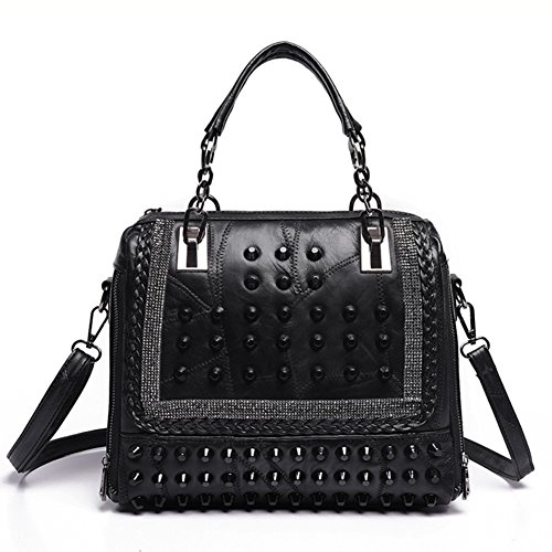 Shoulder Black Shoulder Handbag Rivet Bag Bag Stitched Vintage ax07vwra
