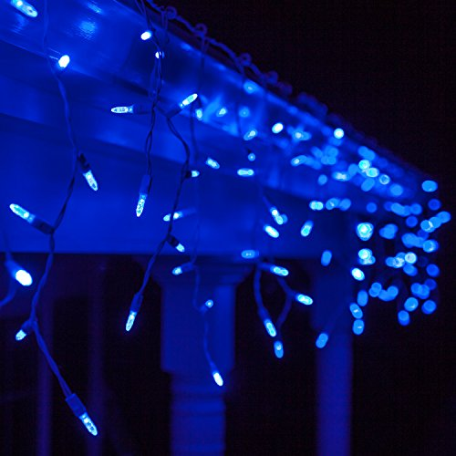 Blue And White Icicle Outdoor Christmas Lights in US - 1