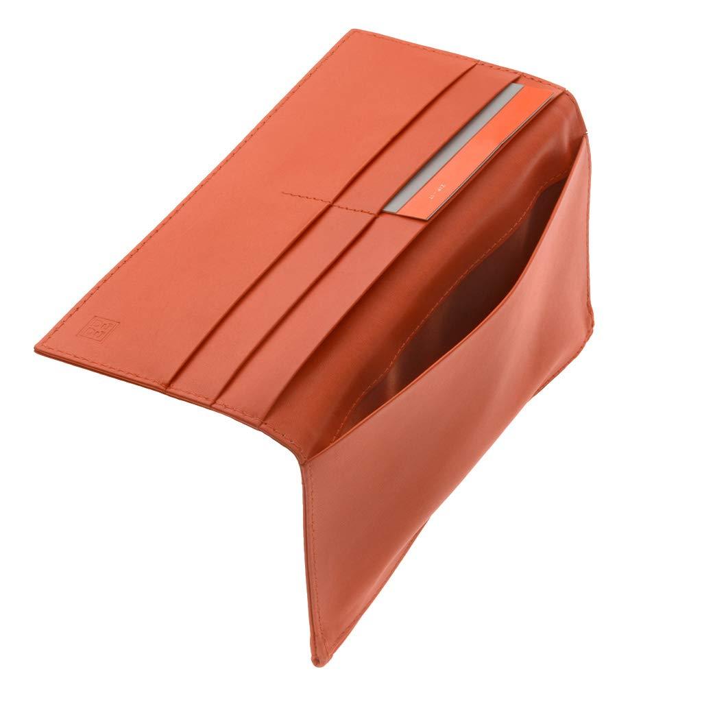 Orange Tom DUDU Mens Large Bifold Wallet made in Genuine Leather with external Zip Card /& Money Paper Holders