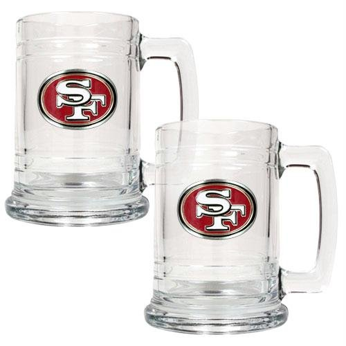 NFL San Francisco 49ers Two Piece 15-Ounce Glass Tankard Set - Primary Logo