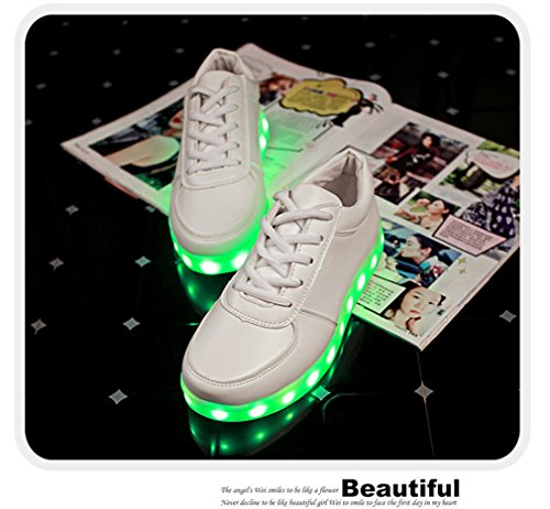 Xilalu Hombres Mujeres Led Zapatos Carga Usb Ilumina Brillar Intermitente Zapatos Luminosos Zapatillas Moda Blanco
