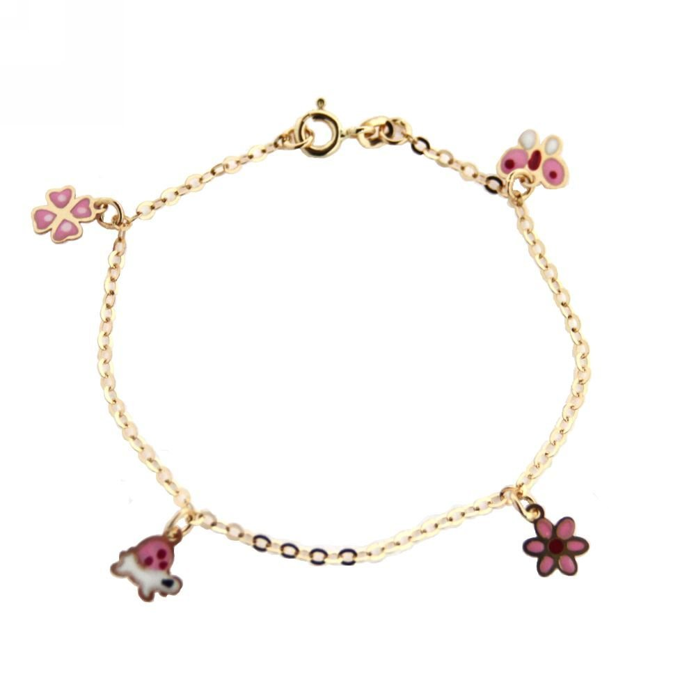 18KT Yellow Gold Pink Enamel Butterfly//Flowers//Turtle Hanging Charm Bracelet 6 inches