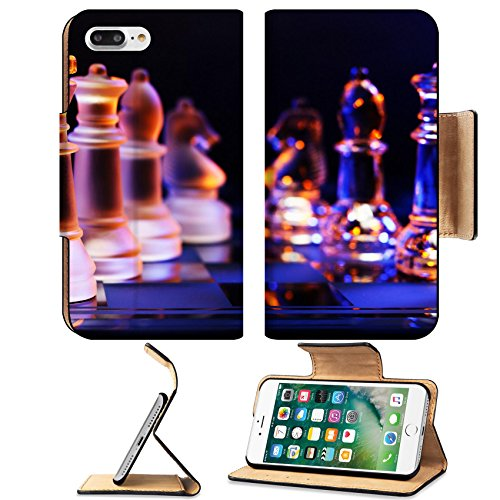 MSD Premium Apple iPhone 7 Plus Flip Pu Leather Wallet Case Glass chess on a chessboard lit by a colorful blue and orange and placed on a IMAGE 25854885