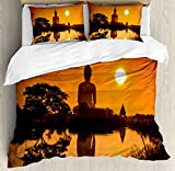 Asian Decor Queen Size Duvet Cover Set by Ambesonne, Big Giant Statue by the River at Sunset Thai Asian Culture Scenery Zen Print, Decorative 3 Piece Bedding Set with 2 Pillow Shams, Burnt Orange