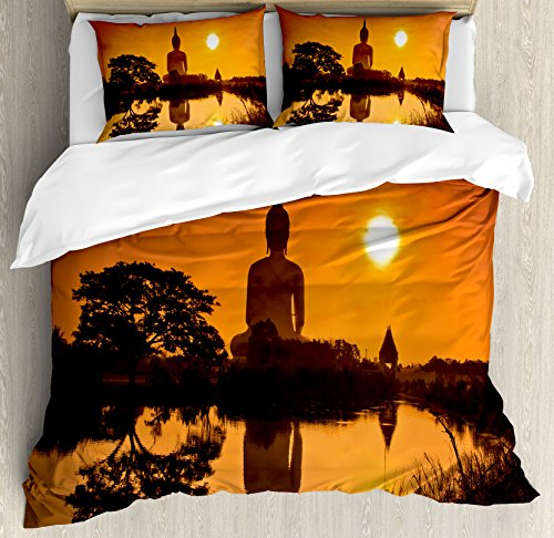 Asian Decor Queen Size Duvet Cover Set by Ambesonne, Big Giant Statue by the River at Sunset Thai Asian Culture Scenery Zen Print, Decorative 3 Piece Bedding Set with 2 Pillow Shams, Burnt Orange by Ambesonne