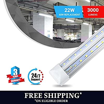 T8 4FT V Shape Integrated 2-Rowed LED Tube Light, 22W (Replaces 60W Fluorescent) 5000K (Day Light), Clear Lens Cover, Works Without Ballast 1-Pack