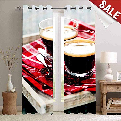 Hengshu Room Darkening Wide Curtains Freshly Brewed Espresso Two Cups on Wooden Tray Leisure Relaxing Time in Countryside Decor Curtains by W84 x L84 Inch Multicolor