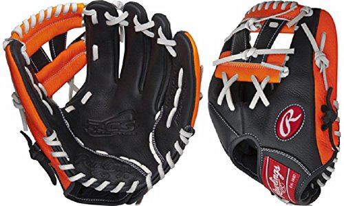 "Rawlings Youth Custom Series Pro Taper Glove, Black/Orange, 11.25"""