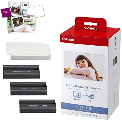 Canon SELPHY CP1300 Wireless Compact Photo Printer (Black) + Canon KP-108IN Color Ink Paper Set (Produces up to 108 of 4 x 6'' prints) + USB Printer Cable + HeroFiber Ultra Gentle Cleaning Cloth by HeroFiber (Image #6)