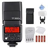 Godox TT350S GN36 1/8000s HSS Mini Flash 2.4G Wireless Master Speedlite for Sony Mirrorless DSLR Camera A77II A6000 A6500 RX10 Series + Mcoplus AA Battery Kit and Cloth