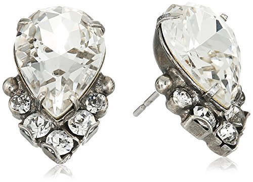 (Sorrelli Core Antique Silver Tone Crystal Teardrop and Cluster Post Stud Earrings)