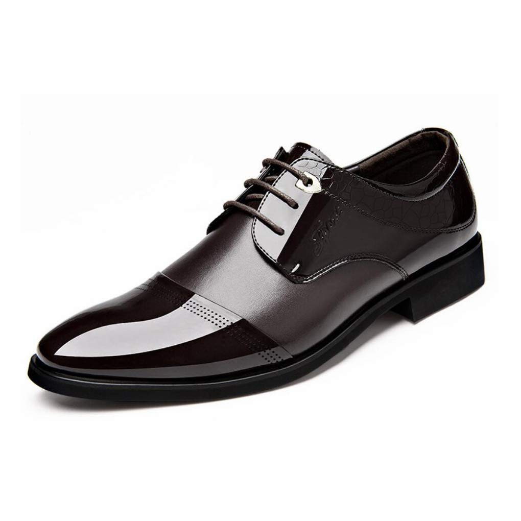 Black,Brown,Brown,43 Yaxuan Mens Business Shoes,Dress Shoes Spring Fall Leather Pointed Toe Shoes,Wedding Fashionable Office Formal Flat Shoes