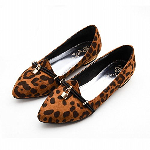 Charm Foot Womens Comfort Pointed Toe Leopard Print Low Heel Loafer Shoes Khaki HOxe0YrZ