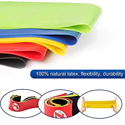 Etoplus Resistance Bands – Set of 5 Exercise Bands, Resistance Loops Workout Bands for Physical Therapy, Legs, Butt, Home Fitness, Yoga, Stretching with Instruction Manual & Carry Bag