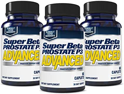 Super Beta Prostate P3 Advanced Prostate Supplement for Men – Reduce Bathroom Trips, Promote Sleep, Support Urinary Health & Bladder Emptying. Beta-Sitosterol, not Saw Palmetto. (180 Caplets, 3-Pack)