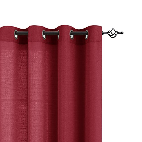 Privacy Semi Sheer Curtains for Bedroom 63 inches Long Casual Weave Linen Textured Window Treatment Set for Living Room Curtain Panels Burgundy Red 2 Panels - bedroomdesign.us