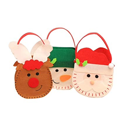 Amazon.es: Toyvian Bolsas de Dulces de Fieltro navideño de 3 ...