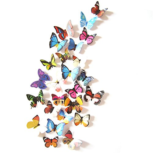 Prefer Green 2 X 24 PCS 3D Colorful Butterfly Wall Stickers DIY Art Decor Crafts (H-017 A)