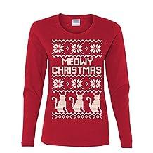 Meowy Christmas Long Sleeve T-Shirt Cat Lover Christmas Xmas Ugly