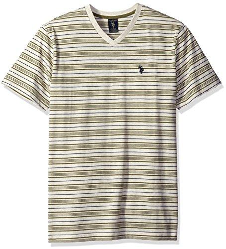 U.S. Polo Assn. Men's Multi Stripe V-Neck T-Shirt, Oatmeal Heather, XX-Large
