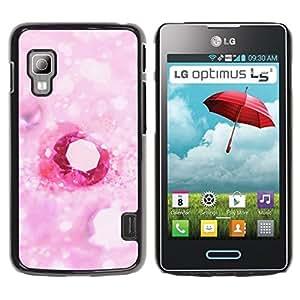 TopCaseStore / la caja del caucho duro de la cubierta de protección de la piel - Love Pink Heart Diamond - LG Optimus L5 II Dual E455 E460