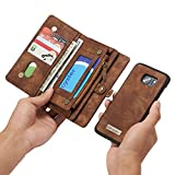 RAYTOP® [Magnetic Removable Phone Case] + [11 Card Holders] + [4 Large Pockets] PU Leather Wallet for Samsung Galaxy S7 Edge [Magnet + Zipper + Button Closure] Dark Brown Large Capacity Premium
