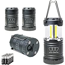Brightest LED Lantern - Camping Lantern (EMITS 350 LUMENS!) - 4Pack Camping Gear Camp Equipment Camp Light for Camping, Emergencies, Great Gift Set (Gray with Magnetic Base and Hook)