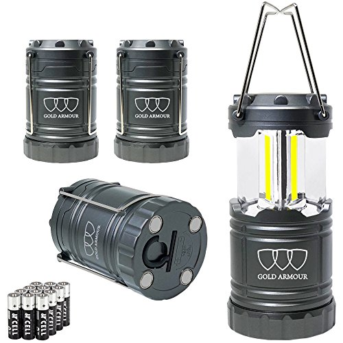 Gift Set Flashlight - Brightest LED Lantern - Camping Lantern (EMITS 350 LUMENS!) - 4Pack Camping Gear Camp Equipment Camp Light for Camping, Emergencies, Great Gift Set (Gray with Magnetic Base and Hook)