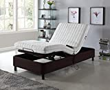 electric adjustable bed frame - Home Life Electric Adjustable Platform Bed Frame with Remote Control - Linen Brown - Dual Adjustable Split King - am272