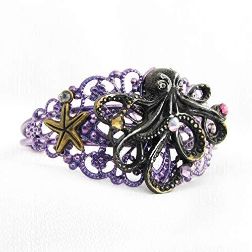 Ursula Octopus Metal Cuff Bracelet Steampunk Under the Sea -