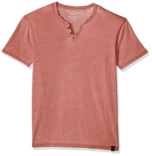 Lucky Brand Men's Burnout Notch Neck Tee, Cowhide, L