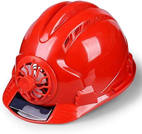 夏のABS通気性保護ヘルメット ファン太陽エネルギー、 調整可能 建設ヘルメット スマッシュ防止用ヘルメット 建設労働者の保護具 工事・住宅改修用(4色)