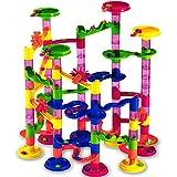 Deuba Murmelbahn Coaster Kugelbahn   36 Murmeln 12mm   111 Teile Bauvariationen DIY Kinder Spielzeug ab 3 Jahre